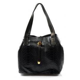 Kožená luxusní menší černá kabelka Elen