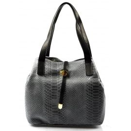 Kožená luxusná menšia sivá kabelka Elen