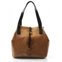 Kožená luxusná menšia béžová kabelka Elen