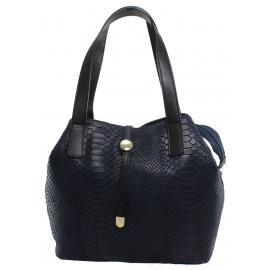 Kožená luxusná menšia modrá kabelka Elen