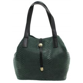 Kožená luxusná menšia zelená kabelka Elen