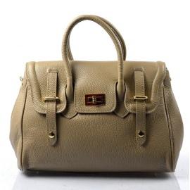 Kožená luxusná hnedá taupe kabelka do ruky Francis
