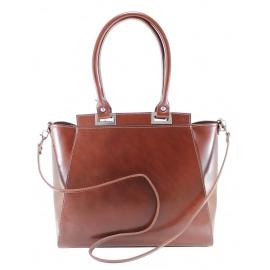 Kožená luxusní hnědá menší kabelka do ruky Miracle