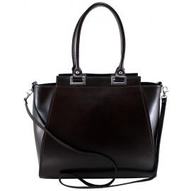 Kožená luxusná tmavo hnedá menšia kabelka do ruky Miracle