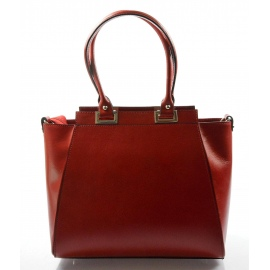 Kožená luxusná červená menšia kabelka do ruky Miracle