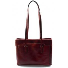 Kožená červená bordó kabelka cez rameno Liones