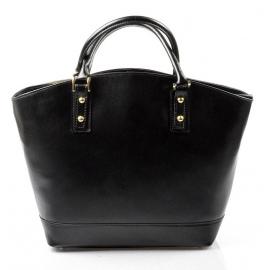 Kožená luxusná veľká čierna kabelka Clasic