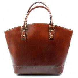 Kožená luxusní velká hnědá kabelka Clasic