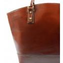 Kožená luxusná veľká hnedá kabelka Clasic