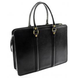Kožená luxusná čierna kabelka do ruky ester