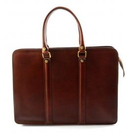 Kožená luxusná hnedá kabelka do ruky ester