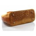 Kožená mahagonově hnědá krokodýlí kabelka do ruky agata