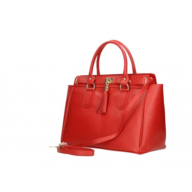 113f3fdae9 Kožená luxusní červená kabelka do ruky montana - KabelkyZoSvěta