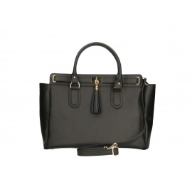 Kožená luxusná čierna kabelka do ruky montana