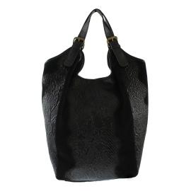 Kožená velká černá taška na rameno ramel