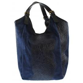 Kožená veľká modrá taška cez rameno ramel