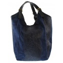 Kožená velká modrá taška na rameno ramel
