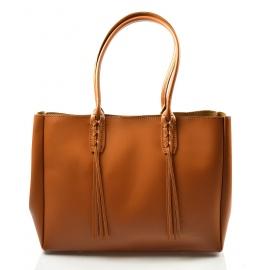 Kožená větší mahagonově hnědá kabelka na rameno 2v1 Zara