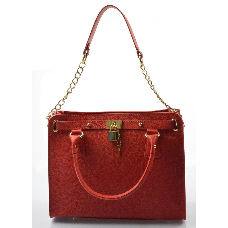 c37ad90034 Kožená luxusní červená kabelka do ruky francesi - KabelkyZoSvěta