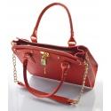 Kožená luxusná červená kabelka do ruky francesi