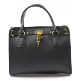 Kožená luxusná čierna kabelka do ruky francesi