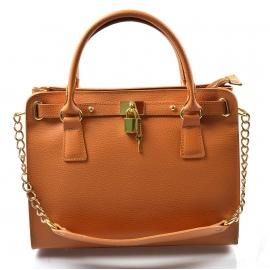 Kožená luxusná hnedá kabelka do ruky francesi