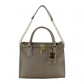 Kožená luxusná béžová kabelka do ruky francesi