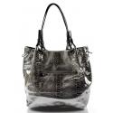 moderní lesklá stříbrná kabelka na rameno star