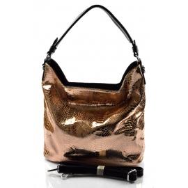 moderní lesklá bronzová kabelka na rameno star two