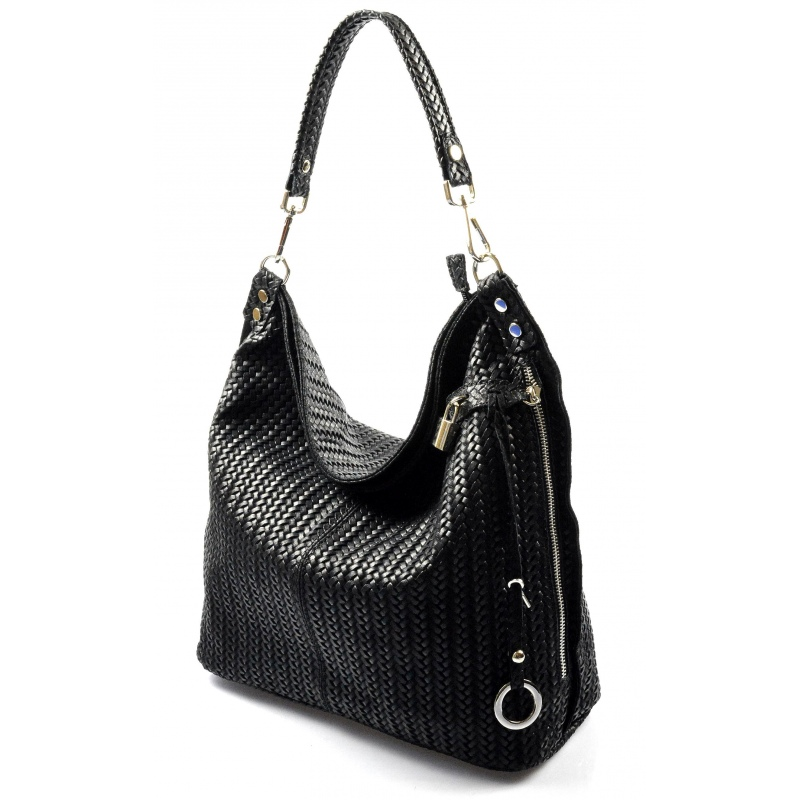 Kožená čierna veľká kabelka cez rameno Justin - KabelkyZoSvěta 0c06558d8b5