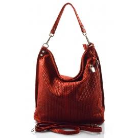 Kožená červená bordó veľká kabelka cez rameno Justin