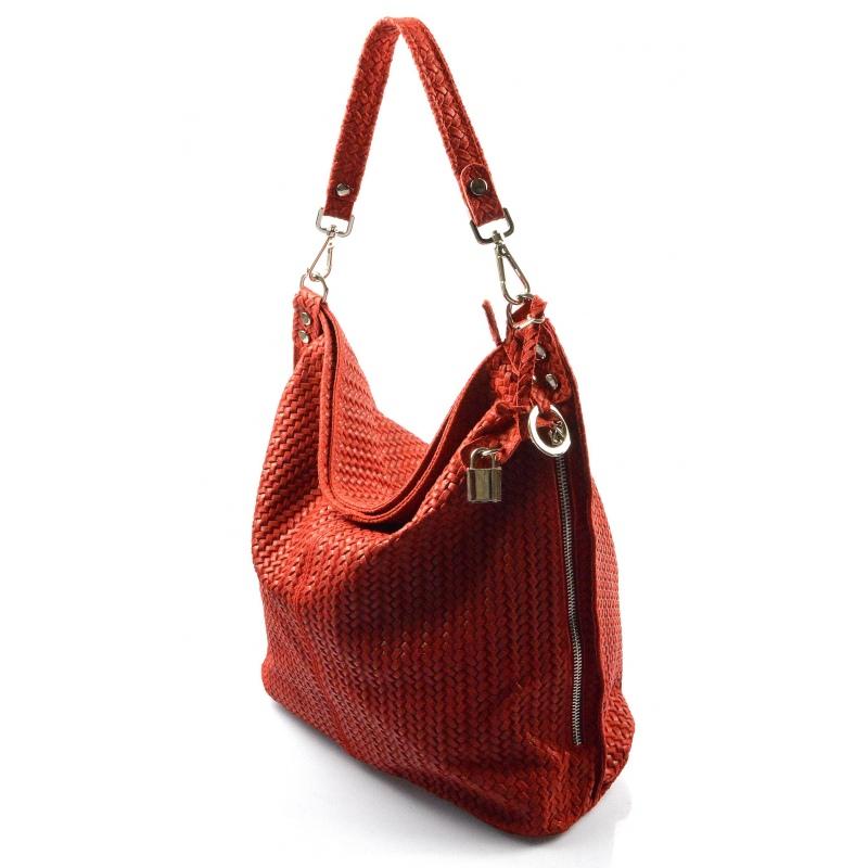 Kožená červená bordó veľká kabelka cez rameno Justin - KabelkyZoSvěta af16d8e4419
