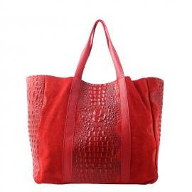 Kožená veľká krokodýlia červená bordó taška cez rameno janesi 2v1
