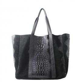 Kožená veľká krokodýlia čierna taška cez rameno janesi 2v1