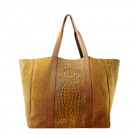 Kožená velká krokodýlí koňakově hnědá taška na rameno janesi 2v1