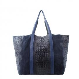 Kožená veľká krokodýlia tmavo modrá taška cez rameno janesi 2v1