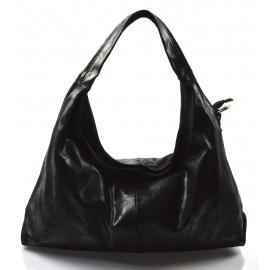 Kožená čierna kabelka cez rameno jesica