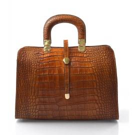 Kožená luxusní mahagonově hnědá krokodýlí kabelka do ruky palomi