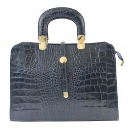 Kožená luxusní tmavší modrá krokodýlí kabelka do ruky palomi