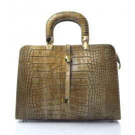 Kožená luxusná béžová krokodýlia kabelka do ruky palomi