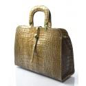 Kožená luxusní béžová krokodýlí kabelka do ruky palomi