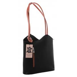 Kožená luxusní čierna s koňakovou crossbody kabelka Grand Royal