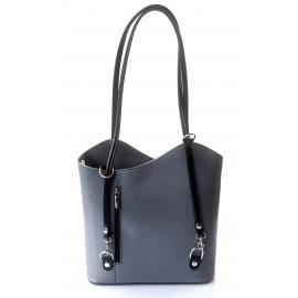 Kožená luxusní tmavo sivá s čiernou crossbody kabelka Grand Royal