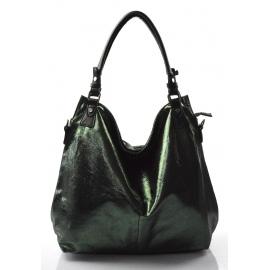 moderná lesklá zelená kabelka cez rameno angelica