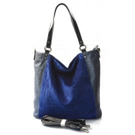 moderní lesklá modrá kabelka na rameno vera