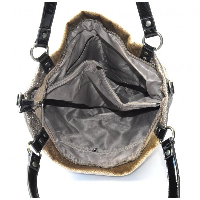 moderná lesklá hnedá aprikot kabelka cez rameno vera - KabelkyZoSvěta bf1abf548fb