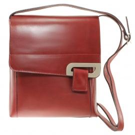 Kožená menšia unisex červená bordó crossbody kabelka cez rameno Jorge