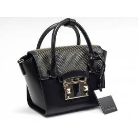 Luxusná černá kožená kabelka cromia leaver