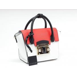 Luxusná bíelo červená kožená kabelka cromia leaver