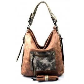 netradičná tehlovo hnedá kabelka Mona two